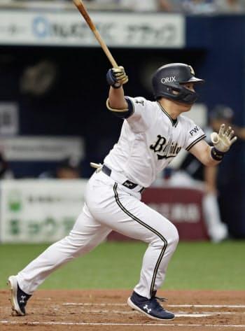 3回オリックス無死一塁、吉田正が右中間に適時三塁打を放つ(17日、京セラドーム)=共同