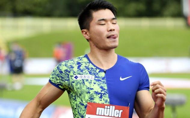 男子100メートル予選 10秒31の1組6着で敗退した小池祐貴(18日、バーミンガム)=共同