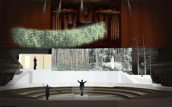 舞台美術家の針生康が総合演出するオペラ「リトゥン・オン・スキン」の舞台イメージ(サントリーホール)(C)Shizuka Hariu