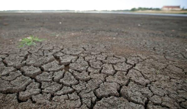 フランスでは猛暑で池が干上がった(7月)=ロイター