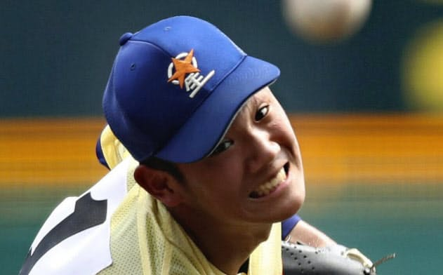 中京学院大中京戦で7回2安打無失点と好投した星稜・奥川(20日、甲子園)=共同