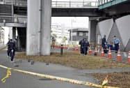 煙玉が放置されていたG20大阪サミット主会場近くの現場(6月、大阪市住之江区)=共同