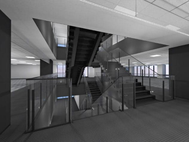 木内建設は吹き抜けに階段を設けて部署間を移動しやすくする(完成予想図)