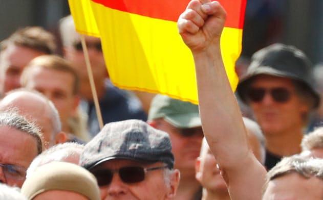 7月、独コットブスで極右政党、ドイツのための選択肢の集会に参加する人々=ロイター