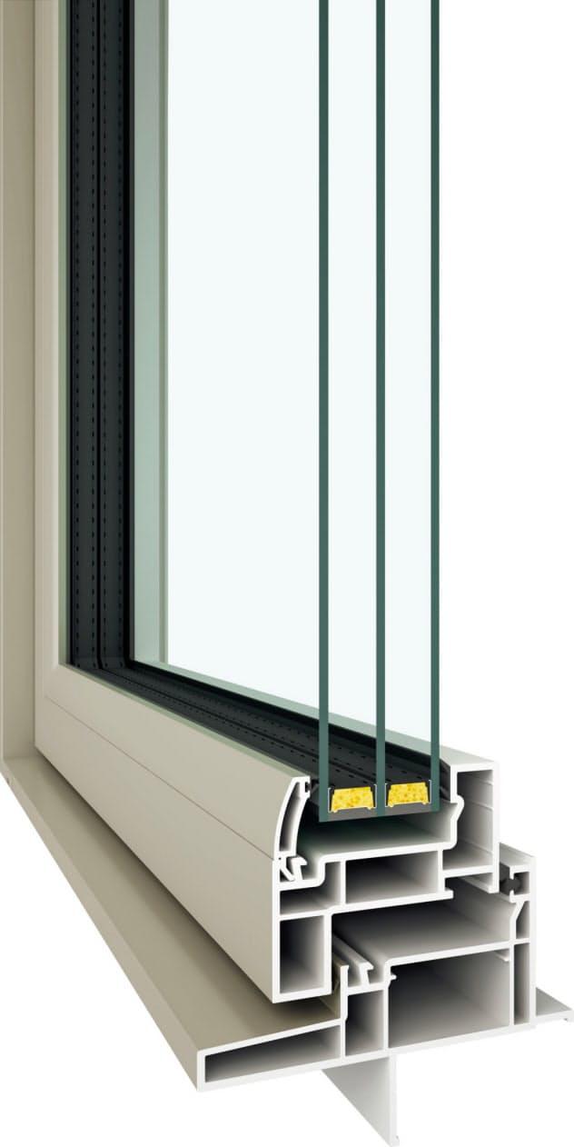 複雑な格子状にしたサッシと複数のガラスで熱を遮断(YKKAPの樹脂窓「APW430」)