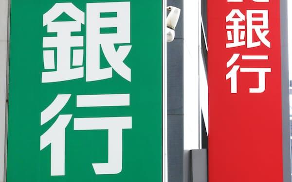 銀行の看板(大阪市中央区)