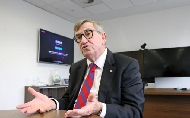 インタビューに応じたファーウェイ豪州法人のジョン・ロード会長(14日、メルボルン)