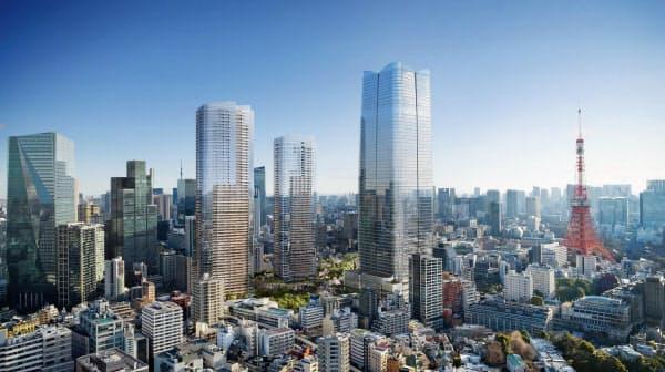 3棟の超高層タワーのほか、街の中心部に大規模な広場を配置する2023年完成の虎ノ門・麻布台の再開発(イメージ)