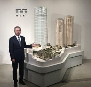 虎ノ門・麻布台の再開発について説明した森ビルの辻慎吾社長(東京・港)