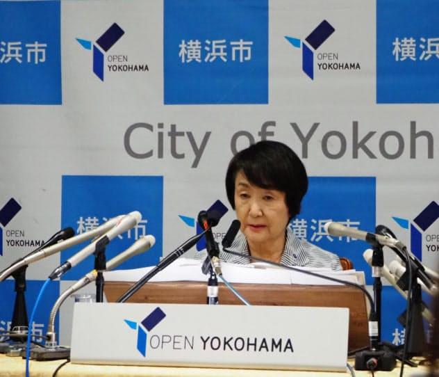 横浜市役所で林文子市長が記者会見した