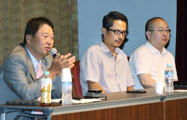 21日に大商などが開いたシンポで討論する(左から)森下、豊田、石山の各氏(大阪市中央区)