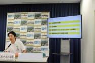 百舌鳥古墳群のガイダンス施設の建設計画撤回などを発表する永藤英機・堺市長(22日、堺市役所)