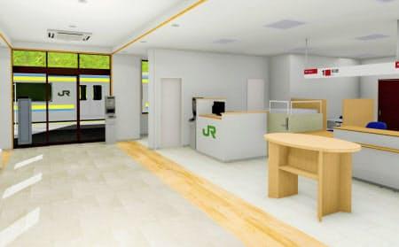 郵便局の窓口サービスや、乗車券・定期券の販売など駅の窓口業務を郵便局員が担う(新たな江見郵便局の内装イメージ)=共同