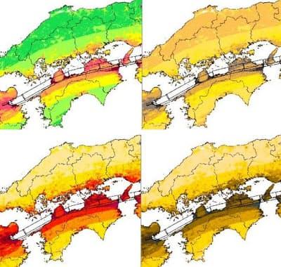 現在の地震動予測地図(左上)が色覚障害者にどう見えるかのイメージ(右上)。新しい配色で示したもの(下段左)では危険度が見分けやすくなる(下段右)。文科省による図を基に色覚障害に詳しい浅田一憲氏が開発した「色のシミュレータ」で作製=共同