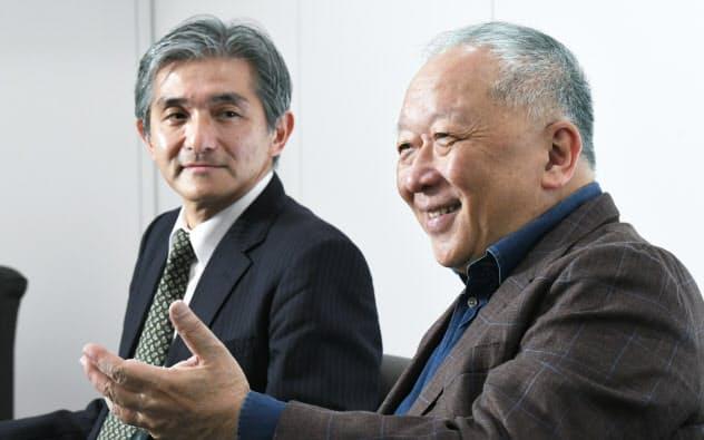 インタビューに応じるSUWAのウィンストン・リーCEO(右)とJDIの菊岡稔CFO(23日、東京都港区)