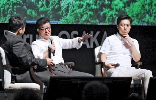 討論する(右から)吉村大阪府知事、松井大阪市長