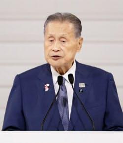 東京パラリンピック開幕1年前の記念式典で、あいさつする大会組織委の森喜朗会長(25日午後、東京都渋谷区)=共同