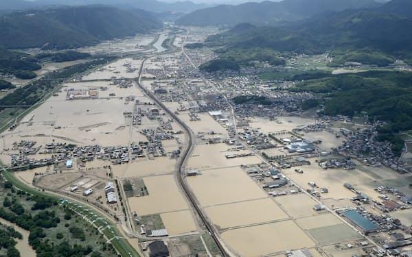 2018年夏の西日本豪雨は甚大な人的・物的被害をもたらした。(冠水した岡山県倉敷市の市街地)