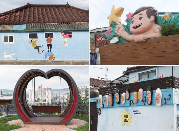 村のあちこちにアート作品が設置されたり、住居の壁に絵が描かれたりしている