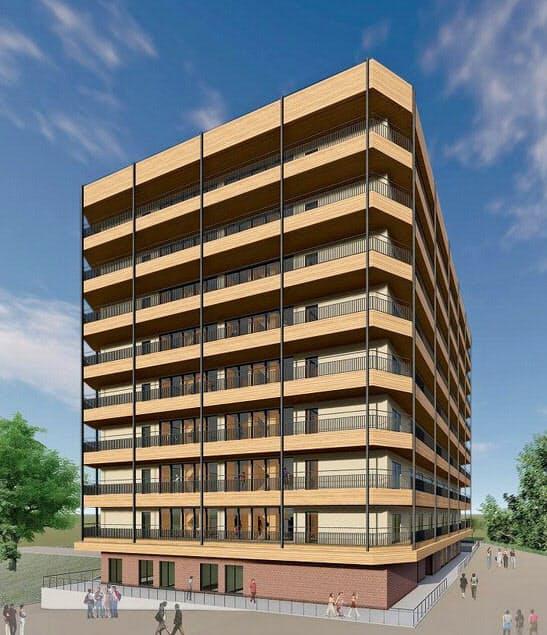 9階建てのビルで耐震・耐火建築とする(完成イメージ)