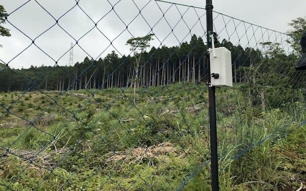 振動検知センサーを設置した防鹿柵