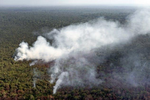 アマゾン熱帯雨林では森林火災が続いている(8月、ブラジル)=AP