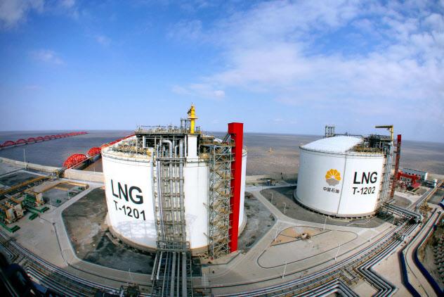 米中貿易戦争により中国向けのLNG輸出が急減した(江蘇省のLNG受け入れ基地)=AP