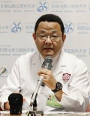 「膵がんセンター」について記者会見する和歌山県立医科大病院の山上裕機病院長(28日午前、和歌山市)=共同
