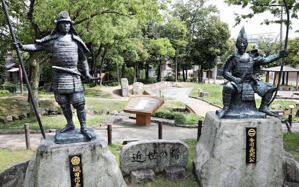 桶狭間古戦場公園には、織田信長と今川義元の銅像が並び立つ(名古屋市緑区)