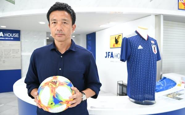20歳の下田崇はサンフレッチェ広島の正GKを目指してもがいた(2019年8月、東京都文京区のJFAハウス)