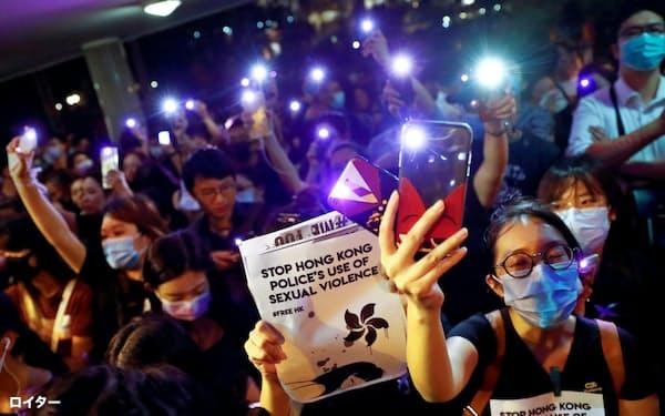 香港では連日デモが起きている(28日に行われた警察官のセクハラに抗議するデモ)=ロイター