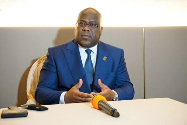 29日、取材に応じるコンゴ民主共和国のチセケディ大統領(横浜市)