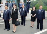 北朝鮮の崔善姫第1外務次官(左から4人目)=聯合・共同