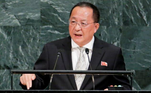 国連で演説する北朝鮮の李容浩外相(17年9月23日、ニューヨーク)=ロイター