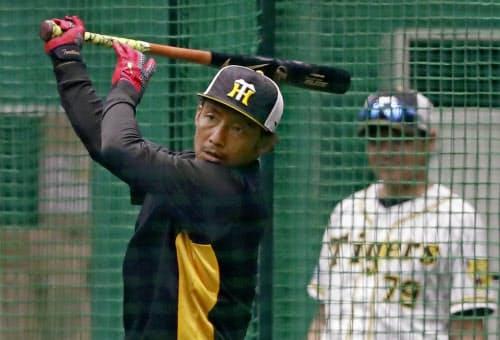 巨人戦を前に打撃練習する鳥谷敬内野手。今季限りで阪神を退団する意向を明らかにした(31日、甲子園球場)=共同