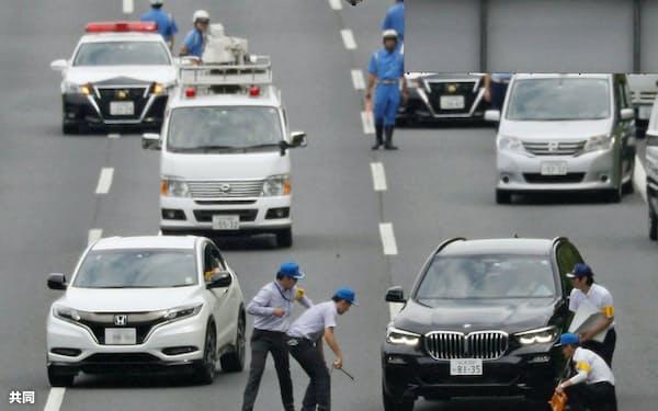 あおり運転殴打事件で行われた実況見分(8月31日、茨城県守谷市)=共同