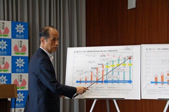 保育の利用ニーズや受け皿確保の推移を説明する岡山市の大森市長(2日、岡山市役所)