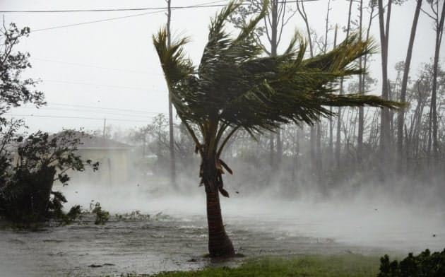 自然災害関連の再保険料率が世界で上昇している(バハマを襲ったハリケーン)=AP