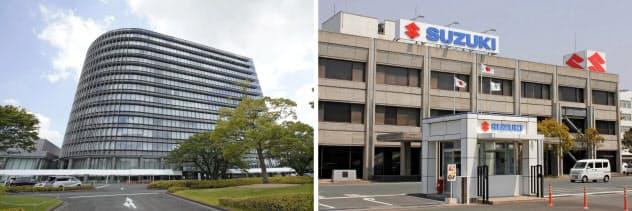 愛知県豊田市のトヨタ自動車本社(左)と浜松市のスズキ本社