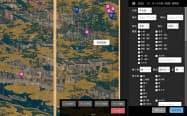 デジタルアーカイブ上の「洛中洛外図屏風(舟木本)」。屏風の箇所に関連する情報をひも付けできる。