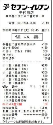 レシートでは、軽減税率対象であることを伝える「*」の印やキャッシュレス還元額を表記する
