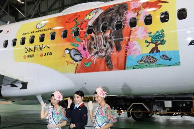 世界自然遺産登録を応援しようと機体をラッピング