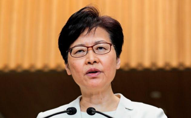 林鄭月娥・行政長官は5日の記者会見で「逃亡犯条例」改正案の撤回などを説明した=ロイター