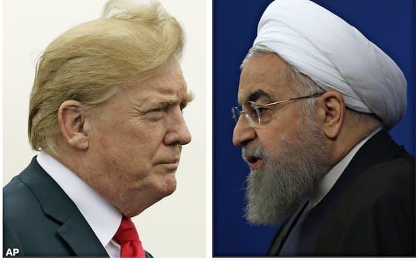 イランのロウハニ大統領(右)とトランプ米大統領=AP