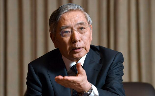 インタビューに答える日銀の黒田総裁(5日、日銀本店)