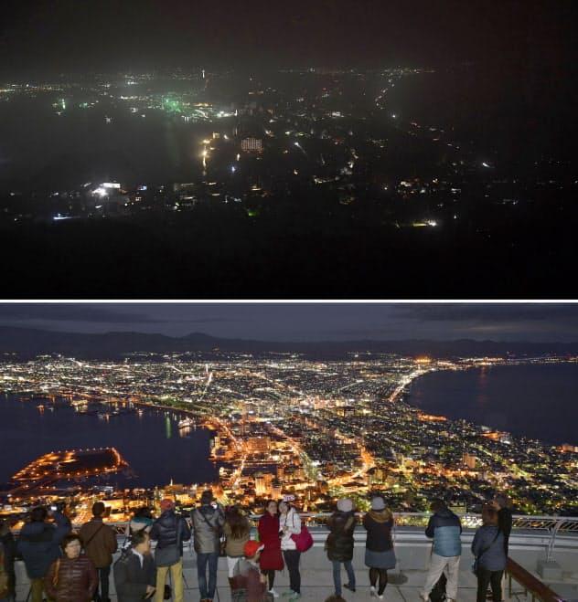 停電が続く6日夜に北海道函館市の函館山から見た夜景。下は2015年11月の様子