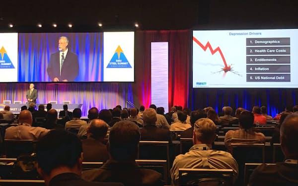 鉄鋼業界の会合ではエコノミストが景気の先行き懸念を強調した(8月、米アトランタ)