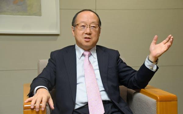 丸谷社長は「実務的な災害対応を進めている」と強調した(3日、札幌市)