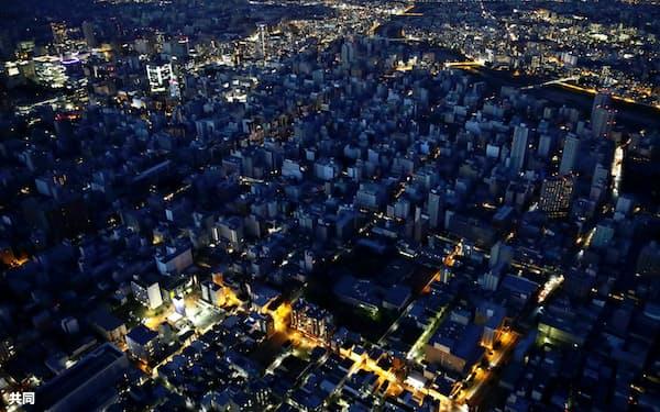 札幌市中心部も停電が長く続いた(2018年9月6日午後6時38分)