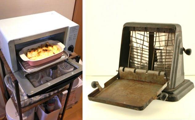 (右)ターンオーバー式トー?#25915;咯`(昭和20~30年代使用)=北名古屋市歴史民俗資料館提供 (左)冷凍食品も調理可能なオーブントー?#25915;咯`